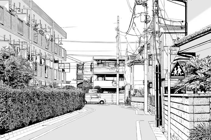 漫画背景・住宅010b