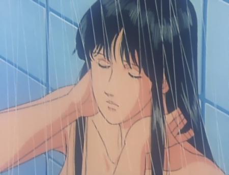 キャッツアイ19 来生瞳の胸裸シャワーシーン
