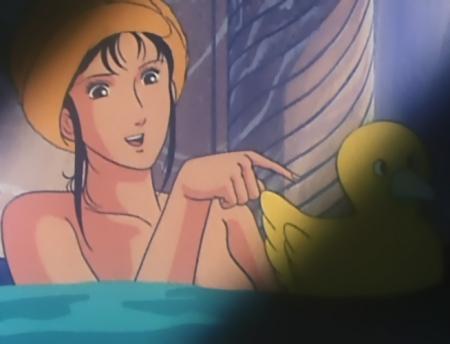 キャッツアイ26 来生瞳の胸裸入浴シーン
