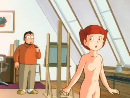 エスパー魔美 佐倉魔美の全裸ヌードモデル乳首1