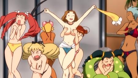 舞-乙HiME Zwei57 アイン・ルーとロザリー・クローデルの胸裸