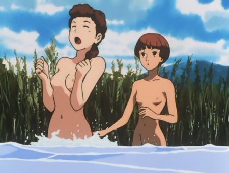 ターンエーガンダム17 ソシエ・ハイムの全裸水浴びシーン乳首