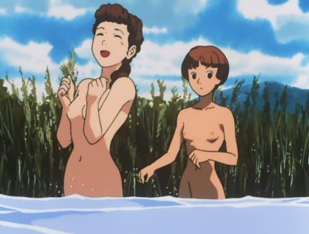 ターンエーガンダム18 ソシエ・ハイムの全裸水浴びシーン乳首