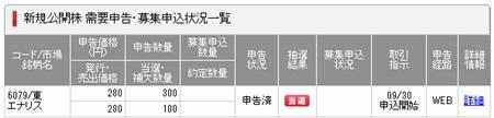 IPO当選エナリスSMBC日興証券