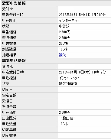 IPOオークファンBB抽選結果初値予想