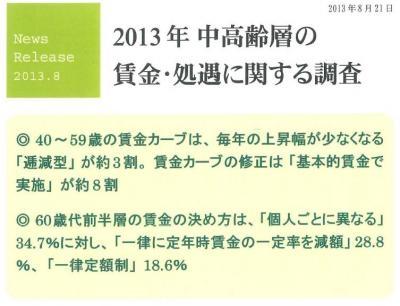 20130927 2013年中高齢層の賃金・処遇に関する調査