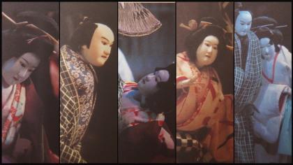 お土産ものとして販売されている曽根崎心中のはがきの中の写真から5枚撮影。オリンパスXZ-10ではこんな面白い分割写真が撮れます。