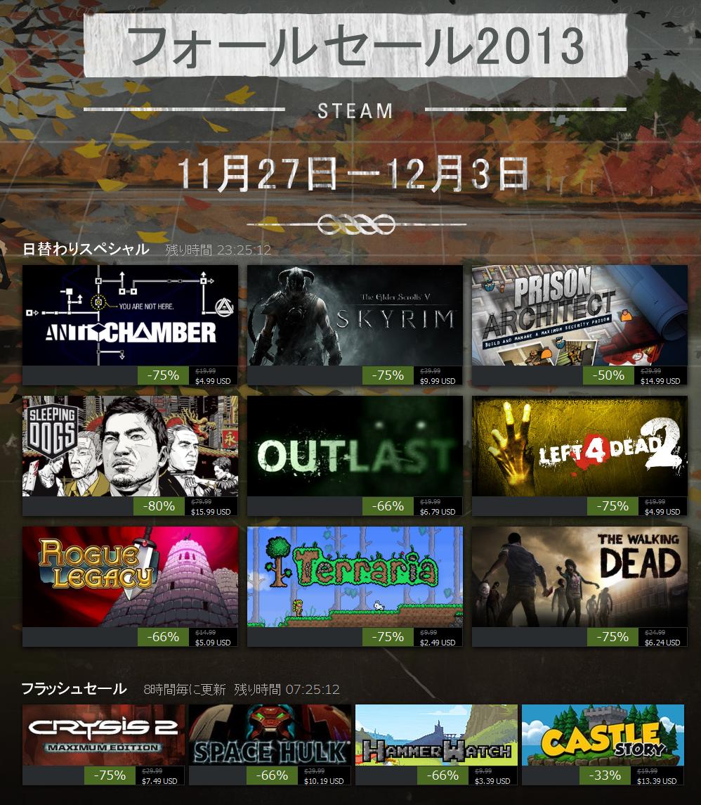 Steam フォールセール 2013