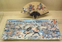 川中島合戦を描いた錦絵と扇
