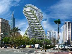 台北にそびえたつ二重螺旋の超高層芸術住宅「陶朱隠園」