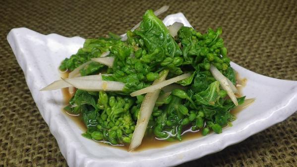 菜花と独活の辛子ポン酢和え