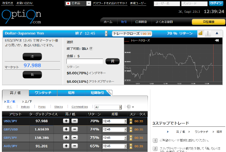 option99.comの根幹である取引画面の画像