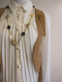 リボン付きジャケット 花柄タンクトップ