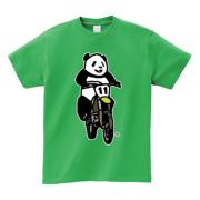 パンダライダーだー 5.6ozヘビーウェイトTシャツ-胸面 (濃色)