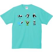 一日パンダ 6.2oz Tシャツ-胸面 (濃色)