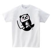 子パンダだっこ(5.6ozヘビーウェイトTシャツ-胸面 (淡色))