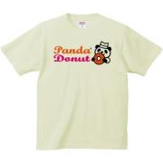 パンダのドーナツショップ 6.2oz Tシャツ-胸面 (淡色)