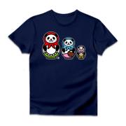 3匹のパンダのマトリョーシカ ダルクベーシックTシャツ(ダークカラー)