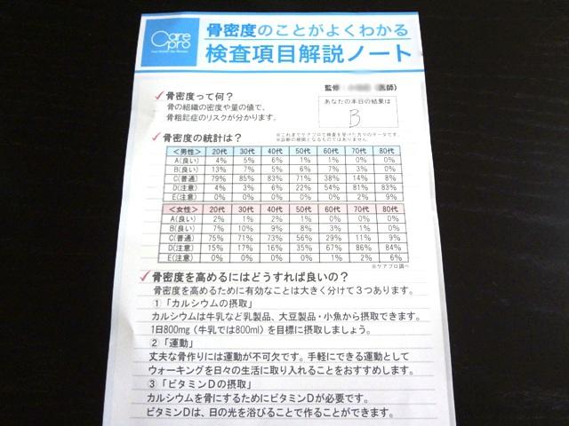 骨密度測定検査結果