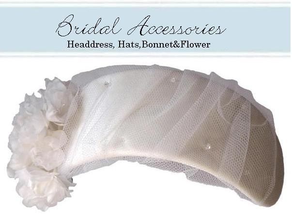 wedding bonnet 【No.2】1コサージュ付きヘッドバンド25.3×6.5cm