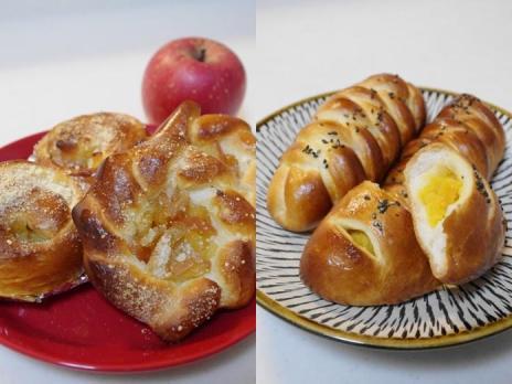 りんごのキャラメル煮パン・さつまいも餡のパン