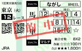 陽一・三連単・馬券・投資・負けない(東京12馬単)