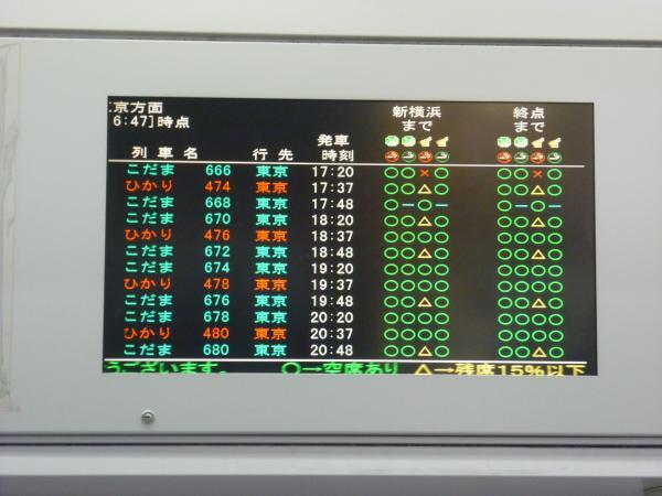 2013-05-04 東海道新幹線 上り 空席状況2