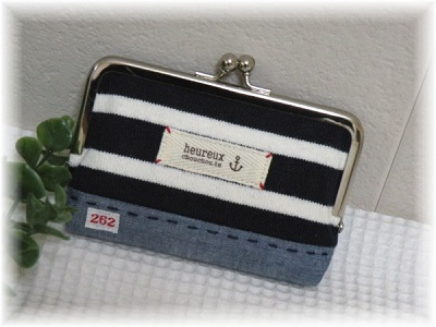 がま口カードケース紺2