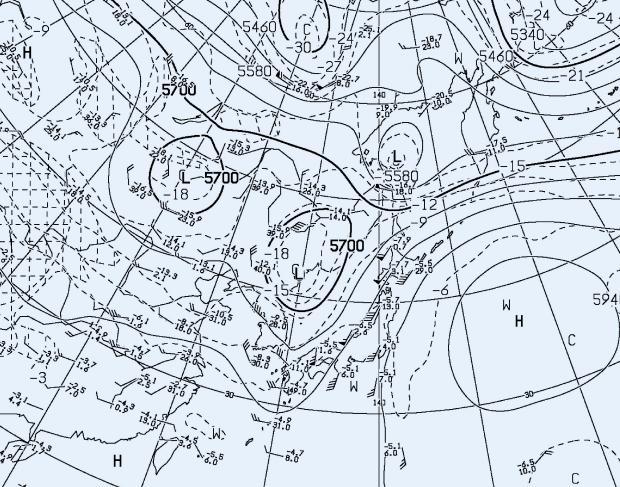 2013年9月4日9時 500hPa高層天気図