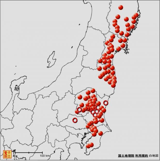 原木シイタケ(露地栽培)出荷自粛・出荷制限 市町村分布図