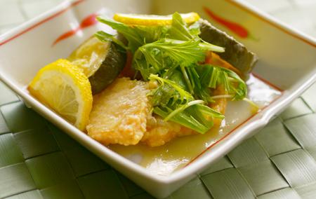 お魚とズキーニの甘酢漬け1