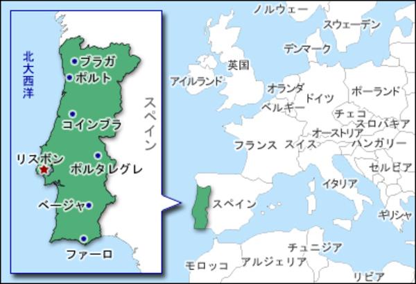 ポルトガル地図 W600H409