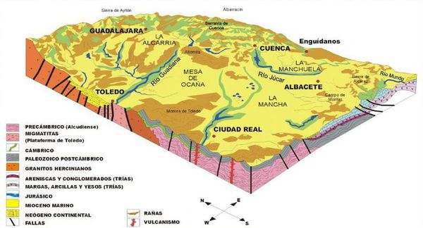Castile-La Mancha 地方の起伏 W600