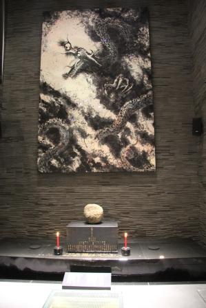 龍の大墨絵と盆山_H25.06.15撮影