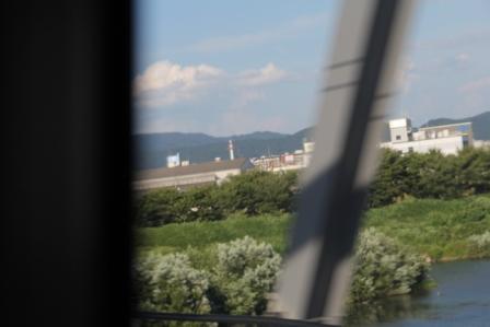 桂川辺りから京都タワー_H25.08.17撮影