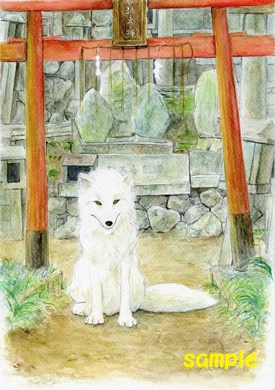 水彩画「白狐」