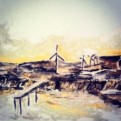 風車 丘 油彩 画像