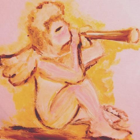 天使 宗教画 油彩 画像