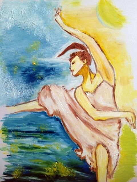 バレリーナ 油彩 イラスト 画像