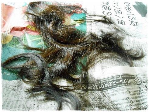 20130902前髪チョイチョイで切った髪の毛