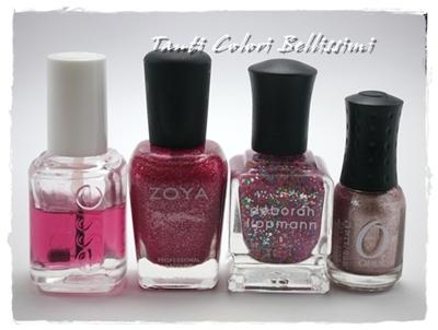 三種のきらきらピンクで夢の国ネイル