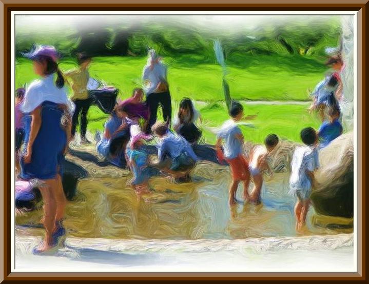 夏の水浴び