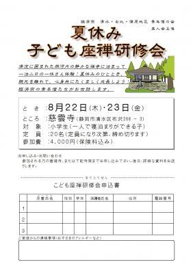 真人会 子ども坐禅研修会 ポスター H25