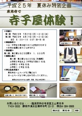 寺子屋体験 ポスターH25
