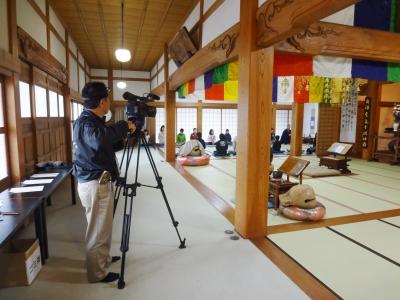 子供坐禅会にケーブルテレビの取材!