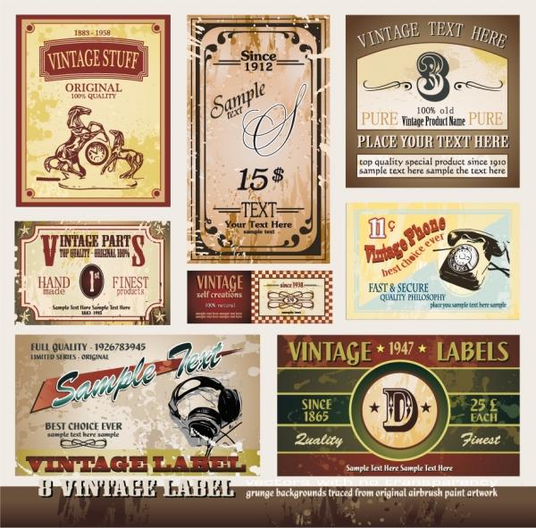 ヴィンテージなワインラベルのコレクション vintage wine label collection