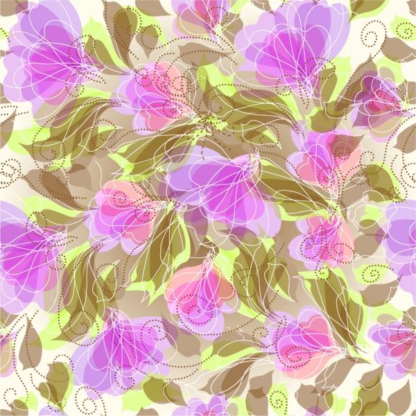 花びらの色を重ねたシームレスな背景 Seameless Floral Vector Background