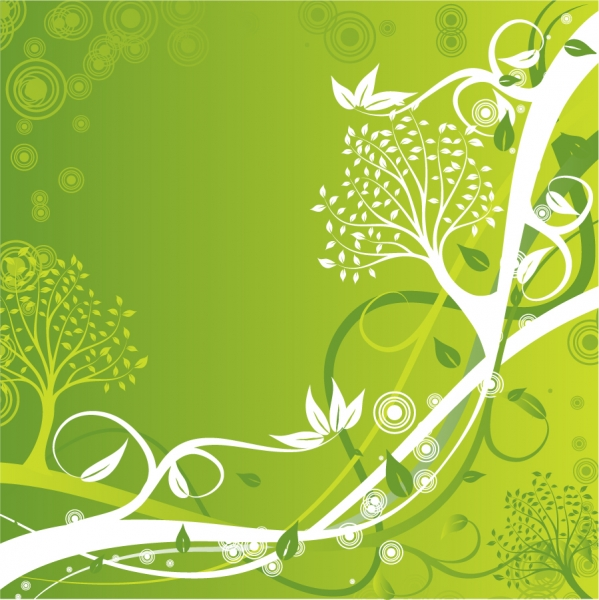 白抜きの植物が美しい緑の背景 Floral Background Vector Illustration