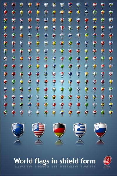 国旗をデザインした盾形アイコン Vector Country Flag Shields