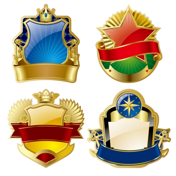 豪華な黄金のバッジ デザイン gorgeous gold medal badge